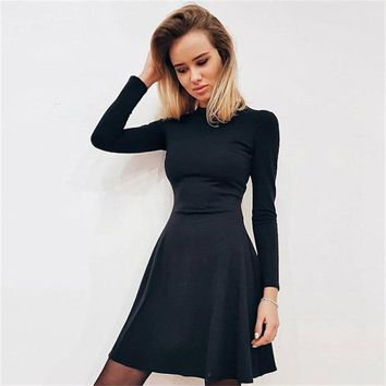 Spring New Fashion Women's Long Sleeved Tight-fitting Casual Dress Slim Elegant Mini Prom Party Vintage