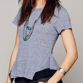 Blue Short Sleeve Peplum Lace Embroidered T-shirt