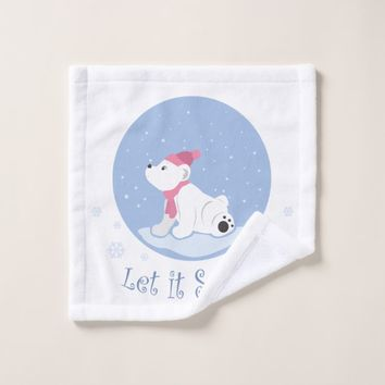Let It Snow! (Polar Bear Cub) Wash Cloth