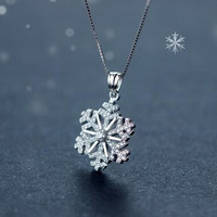Christmas gifts - 925 sterling silver zircon snowflakes necklace + Nice gift box ALQ