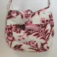Cross body purse bag - made by me with pink, brown cream Amy Butler fabric - small - crossover purse