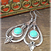Gypsy Earrings - Tibetan Earrings - Tibetan Turquoise Earrings - Boho Earrings - Boho Turquoise Earrings - Boho Jewelry