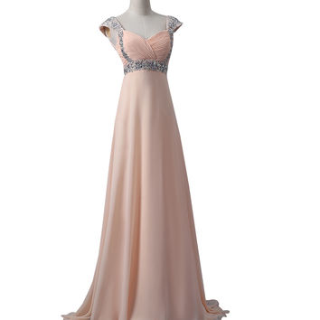 Blush Pink Chiffon Beaded Long Prom\Evening Dresses ED0665