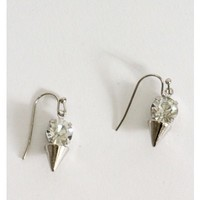 Silver Spike Rhinestone Earrings