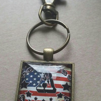 God Bless America Initial B Glass Pendant, Initial Necklace, Initial Charm, Patriotic  Necklace  Red white and Blue jewelry, Star Pendant