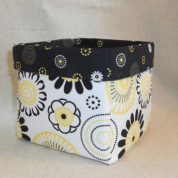 Black, Yellow and White Floral Fabric Basket