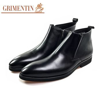 Genuine Leather Boots Men Work Luxury Business Ankle Boots Formal Shoes