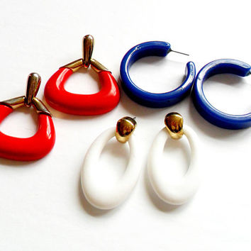 Vintage Chunky Earring Lot - Set of 3 Pairs - Lot Collection - Red White Blue - Hoop Knocker - Acrylic Plastic - Post Pierced - Mod Style