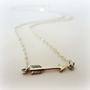 Tiny Silver Arrow Necklace-Minimalist Jewelry-Sideways Arrow Necklace-Horizontal Arrow Necklace-Side Arrow Necklace
