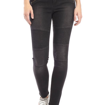 TRUE CRAFT Zip Detail Moto Skinny Jean