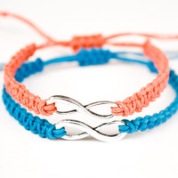Infinity Hemp Bracelets Coral and Blue