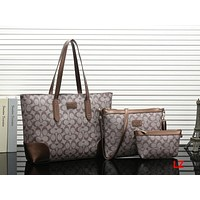 COACH Women Shopping Leather Handbag Tote Shoulder Bag Three Piece Set