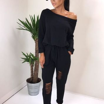 Long Sleeve Slash Shoulder Ripper Jumpsuits