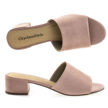 Watson Dk mauve by Classified, Low Block Heel Slippers. Women's Slide In Open Toe Sandal