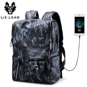 Men PU Leather Waterproof Large Capacity Laptop Bag USB Charge Camouflage Backpack Bag Rucksack