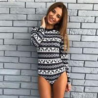 Autumn Slim Bodysuit Women Winter Christmas Causal Jumpsuit O Neck Basic Jumpsuit Long Sleeve Rompers Christmas Clothing WS4726O