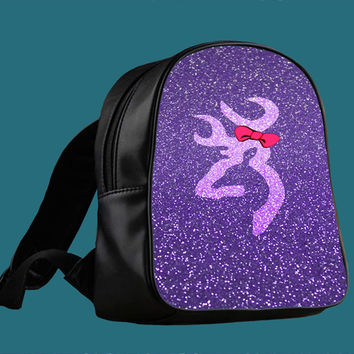 cute browning deer love purple sparkle glitter design for Backpack / Custom Bag / School Bag / Children Bag / Custom School Bag *