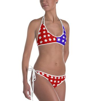 Sexy All-over-print bikini swimsuit set - Red and blue stars, mirrored, reversible pattern