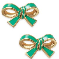 Kate Spade New York Gold-Tone Green Bow Stud Earrings