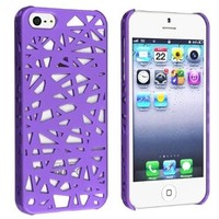 Caetle(tm) Snap-on Case Compatible with Apple iPhone 5 / 5S, Purple Bird Nest Rear