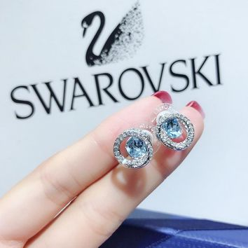 DCCK S090 Swarovski Flower Spiral Generation Crystal Stud Earrings