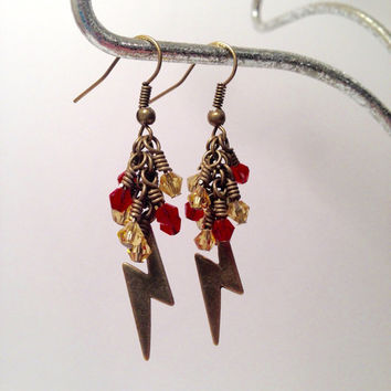 Harry Potter, Scar, Scarlet, And, Gold, Dangle Earrings, Inspired By Harry Potter