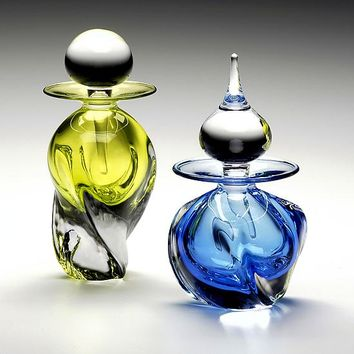 Tri Twist Perfume Bottles by Michael Trimpol Monique LaJeunesse: Art Glass Perfume Bottle | Artful Home