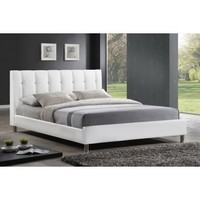 Baxton Vino White Modern Bed With Upholstered Headboard - Full Size BBT6312-White-Full