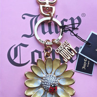Juicy Couture Gold Yellow Daisy Rhinestones Ladybug Keychain/Fob/Charm Ring
