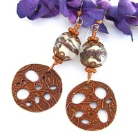 Copper Paisley Lotus Root Handmade Earrings Lampwork Beaded Jewelry