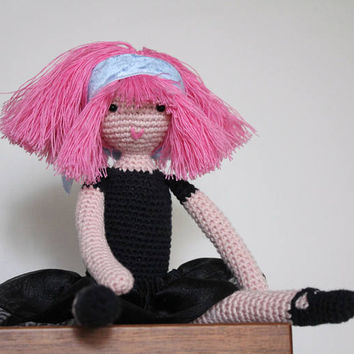 "Crochet ballerina doll, Crochet toy, Pink hair doll, Amigurumi Doll, Cotton toy, Ballerina doll, Stuffed toy, Toddlers toy, 27cm/10"" tall"