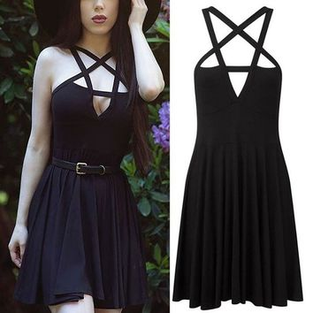 Sexy as HELL - Women's Plunging Pentagram Black Dress - Gothstyle Altfashion