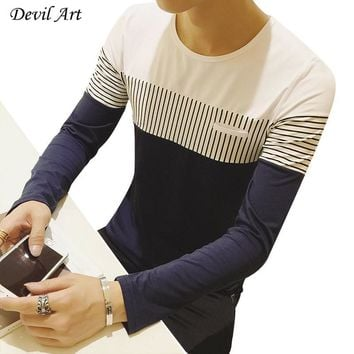 Cotton Casual Long Sleeve T-shirt Spell Color O-neck Striped Mens Shirt Autumn Winter Men Undershirt Brand Men's Clothing M-5XL