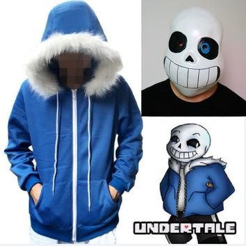 Undertale Sans Cosplay Hoodies Latex Mask 2pcs Set COOL SKELETON Cos Blue Coat Halloween Cosplay Costume Unisex Jacket Headgear