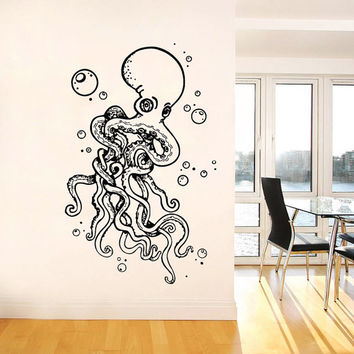Wall Decal Vinyl Sticker Decals Art Home Decor Design Murals Octopus Tentacles Fish Deep Sea Ocean Animals Fashion Bedroom Bathroom Dorm AN5