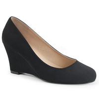 "Kimberly 08 Nubuck 3"" Heel Wedge Pump Black"