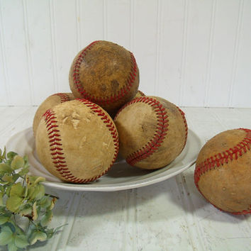 Vintage Well Used Leather BaseBalls Collection of 6 Pieces - Genuine Game Played Standard Size Set of 6 Baseballs - Baby Boy Nursery Decor