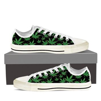 Weed Print Ladies Low Cut Canvas Shoes