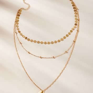 Shell & Disc Charm Layered Chain Necklace 1pc