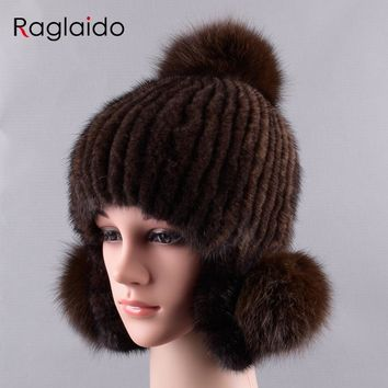Raglaido Women Winter Hats Pompom Mink Hat with Earflaps Fur Ball Beanies Knitted Cap Warm Snow Russian trappers LQ11235