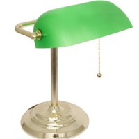 LightAccents Metal Bankers Desk Lamp Glass Shade (Brass)