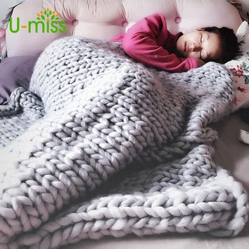 U-miss Fashion Hand Chunky Wool Knitted Blanket Thick Yarn Merino Wool Bulky Knitting Throw Blankets Drop 200X200CM