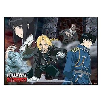 Fullmetal Alchemist Anime Cloth Poster Al Ed Roy Collage WALL SCROLL GE9596 XL