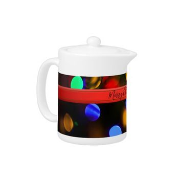Multicolored Christmas lights. Add text or name. Teapot