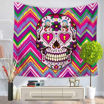Skull Head Tapestry Indian Mandala Tapisserie Hippie Chiffon Wall Hanging TapestriesBedspread Mat Blanket Bed Table Cloth