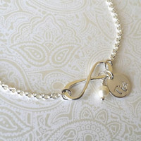 Infinity Bracelet with Tia Charm and Swarovski Pearl -Gift for Tia, Gift for Sister, Gift for Aunt, GIft for Aunt, Aunt to Be