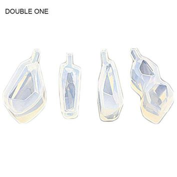 ac spbest Double One 4PCS Earrings Pendant Cabochon Silicone Mold Mould For Resin Jewelry Making DIY Craft