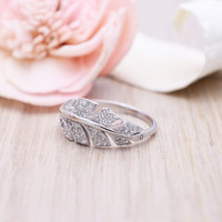 925 sterling silver gold vermeil plated pave cubic zirconia cz leaf ring