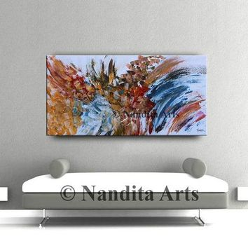 """Abstract Painting 48"""" Large Oil Painting Wall Art on Canvas Blue Red Large Artwork Home or Office Decor by Nandita Albright"""