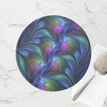 Colorful Luminous Abstract Blue Pink Green Fractal Cake Stand